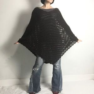 Avenue Brown Crocheted Long Poncho Sweater OSFM